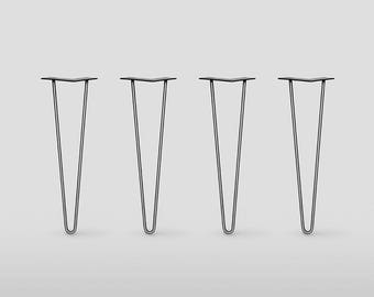 2 rod Hairpin Legs / Set of 4 /          Raw Steel or Stainless Steel, Mid Century Modern, DIY, Metal Table Legs