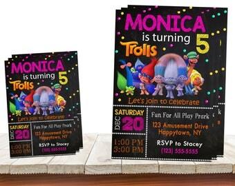 Trolls Invitation, Trolls Birthday Party, Trolls Birthday Invitation, Fur, Trolls Cartoon, Trols, Personalized, Printable, Digital File