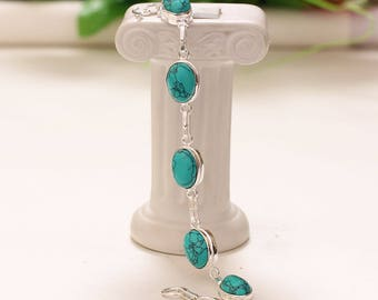 Bracelet in treated turquoise and antique silver plated 925