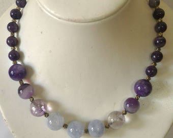 Gemstone Necklace, Beaded Necklace, Chunky Necklace, Aquamarine, Amethyst Necklace