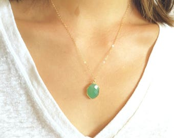 Green Onyx Pendant with Delicate 14K Gold Filled Chain Necklace