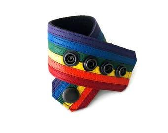 Gay pride bracelet, gay flag bracelet, rainbow bracelet, lgbt, rainbow cuff bracelet, lesbian pride, LGBTQ, gay pride leather bracelet.