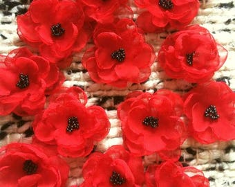 Sew on Flower Embellishment scarlet blood red anemone poppy blossoms 3D decoration applique couture ornament for DIY weddings craft projects
