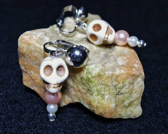 Funky elegant skull clip.on earrings, skull earrings with faux pearls for kids