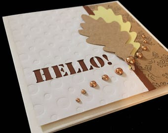 Hello Greeting Card with Oak Leaves and Copper Gems