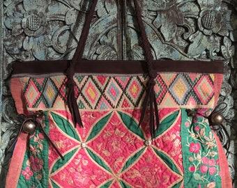 Tribal, Vintage, Thai, Bohemian Antique Textile, Embroidered, Boho, Hobo, Hippie bag,