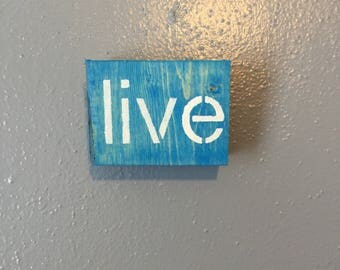 Adorable Blue Wood Block, Ready to Display in your home on the wall or free standing