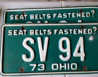 1973 Ohio license plate set antique