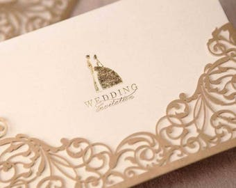 Elegant Laser Cut Wedding Invitation Card w/Envelop - Beige, Personalised Printing Available, Free Shipping, bulk buy discount apply