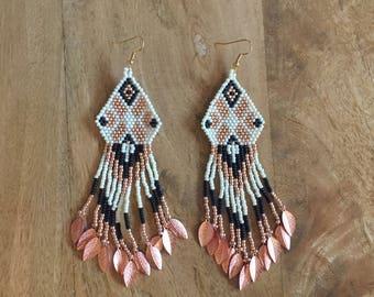 Handmade beaded tassel navajo earrings