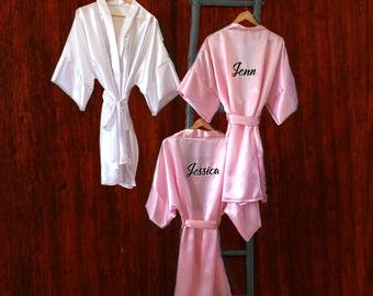 Custom Bridesmaid and Bridal Robes w Names - Short