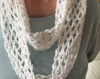 Crocheted White Infinity Scarf