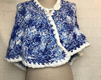 Vintage Small Poncho Cape Blue and White Yarn Handmade