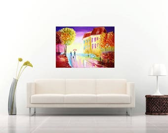 "Original handmade painting wall art oil on canvas painting modern home deco wall hanging 24x18"" Fairytail town bright colors"