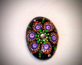 Jewel drop, pocket size mandala river rock with rhinestone, April birthSTONE diamond series 1, hand painted by kathy lynn, FREE SHIPPING