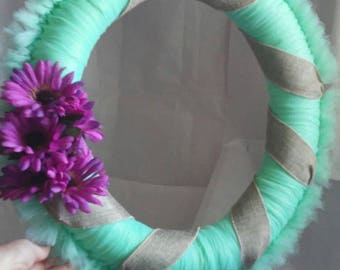Mint green tulle wreath ,wrapped in burlap.