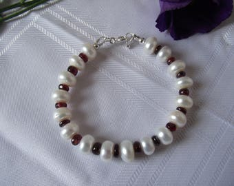 Pearl and Garnet Bracelet with Sterling Silver