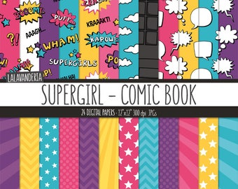 Supergirl Digital Paper Pack. Action Words and Comic Sounds Patterns. Comic Book Backgrounds. Speech Bubbles - Super Girl Digital Scrapbook