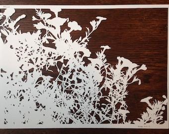 Flowers 13: Ranunculus -- Hand-Cut Paper Silhouette of Ranunculus
