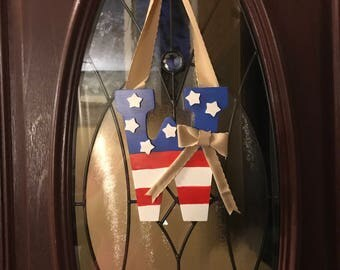 Fourth of July Initial Door Hanger