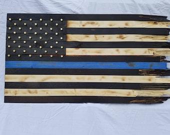 Battle worn thin blue line wooden flag
