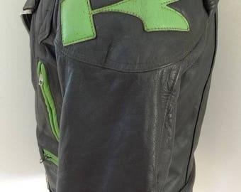"KAWASAKI Leather Motorcycle Jacket Vintage Classic GREEN ""K"" Ninja REAL Deal!"