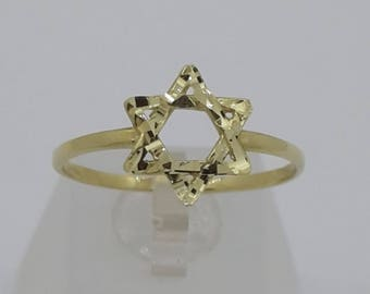 Star of David Gold Ring 14k Magen David Jewelry Authentic Jewish Genuine