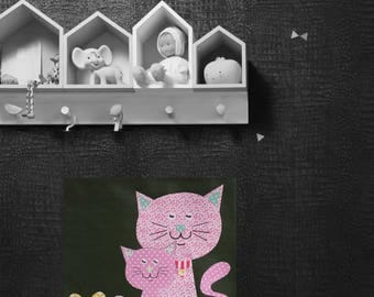 Table bed and child/baby, wall decor, cats