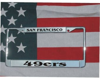 SAN FRANCISCO 49ers Football Chrome Laser Engraved License Plate Frame FREE Shipping