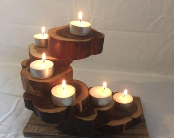 Cedar tiered teacup candle holder