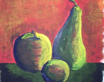 Still life apple pear 30 x40 cm red green yellow abstract