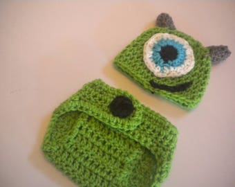 Hand Crochet Mike or Sully Monsters Inc Baby Photo Prop Set Sizes Preemie to 12 Months