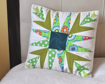 Quilted, colorful, decorative, pillow case in green and white