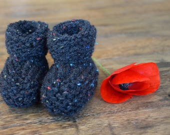 Shoes baby knitting joint - 6/9 month - speckled black