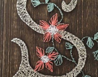 Letter S with  flower string art