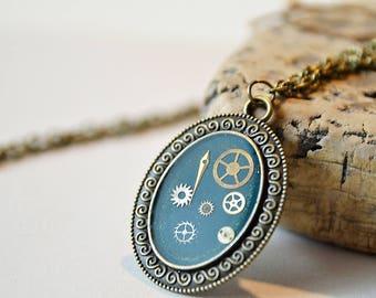 Steampunk Necklace, Steampunk Jewelry,  Steampunk Watch Necklace  Resin,  Aquamarine Pendant