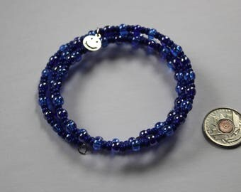 Blue memory wire beaded bracelet