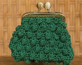 Green crochet coin purse