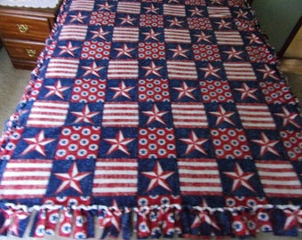 Patriotic red white blue handmade fleece tie blanket
