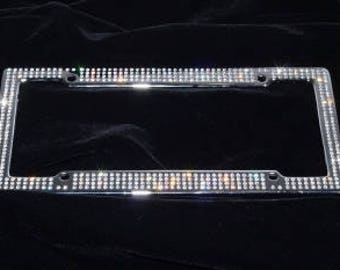 swarovski bling license plate frame 500 hand set cystals