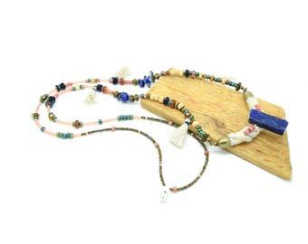 Tribal necklace, chic ethnic necklace, necklace beads, lapis lazuli necklace stone necklace cotton necklace