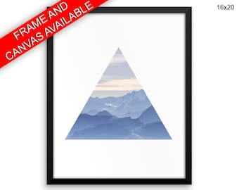 Mountain Printed  Poster Triangle Framed Mountain Living Room Art Triangle Living Room Print Mountain Canvas Triangle mountain art