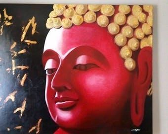 Original Buddha Oil painting - Red and Gold