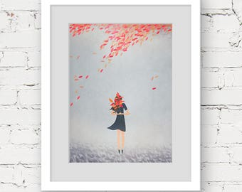 autumn tree art print, instant download printable art, tree illustration print, grey orange art print, autumn girl printable tree art
