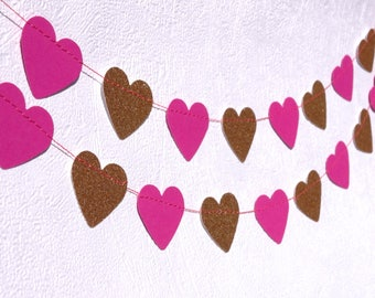 Pink And Glittery Gold Heart Garland - Pink And Gold Wedding Decor - Garden Party Decorations - First Birthday