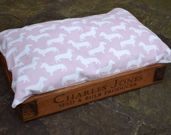 Luxury Pillow Dog Bed with Soft Pink & White Dachshund Cover- a Limited Edition from Designed for Dogs