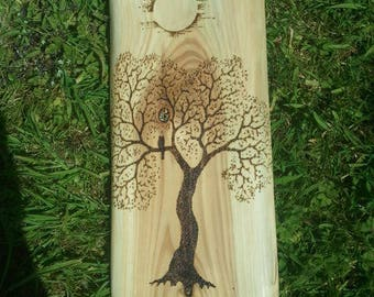 Pyrography - Owl in tree