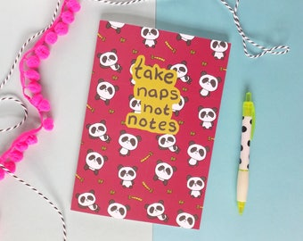 Panda Notebook, Panda Notepad, Kawaii Stationery, Animal Journal, Bamboo Print, Writing Paper, Take Naps Not Notes, Panda Stationery, Jotter