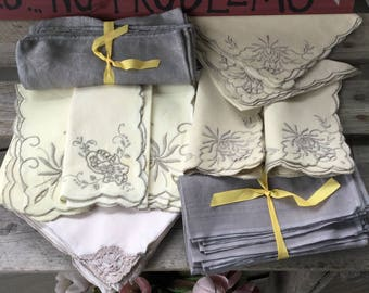 Madeira Napkin Lot 23 pc Mixed Lot w/ Gray Hand Dyed Damask Napkins Vintage Dinner Napkins
