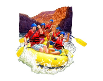white water rafting decal, rafting sticker, full color rafting decal, outdoor rafting sticker, white water rafting car decal